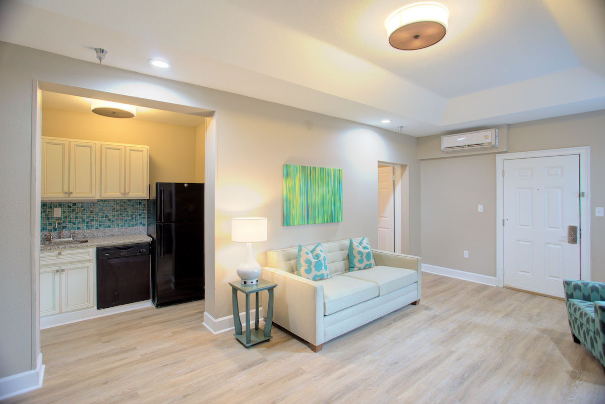1 bedroom suite living room & kitchen